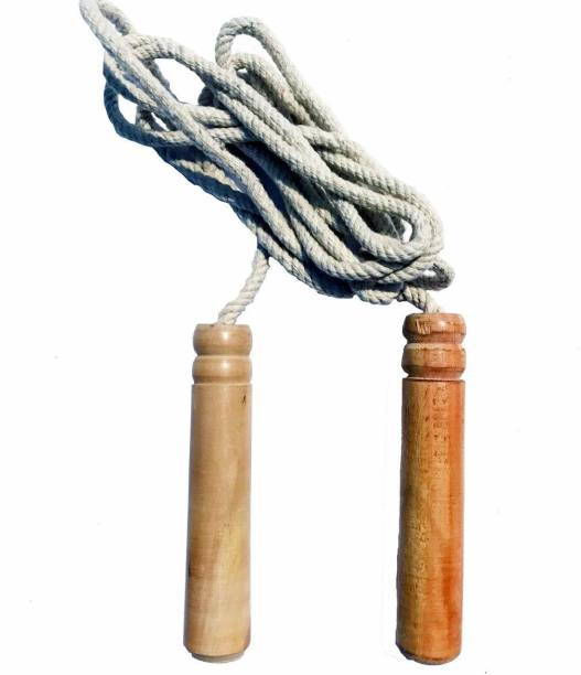 RAHICO CLUB Cotton 10 MM Skipping Rope With Wooden Handle Freestyle Skipping Rope