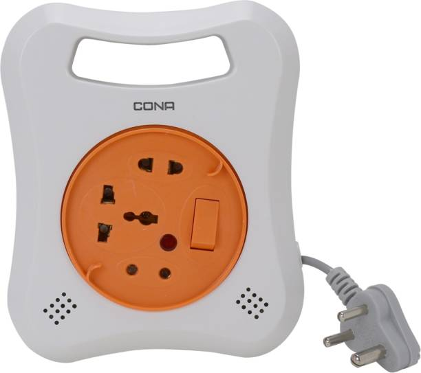 CONA 4186 MULTI 3 Pin Flex Box, 240V, 4 Meter Electrical Extension Box with Universal Socket 3  Socket Extension Boards