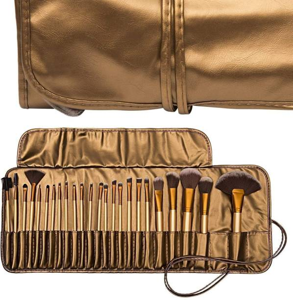 SKINPLUS Natural Cosmetic Brush set with Pouch Case (Pack of 24) golden