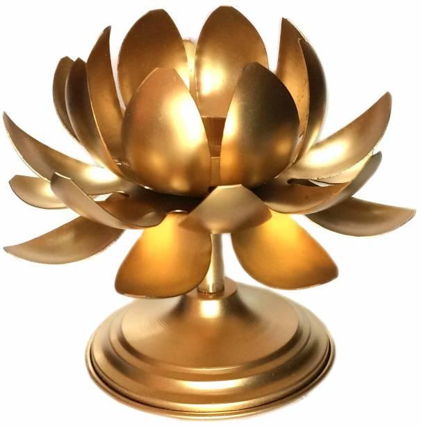 S K Bright Metal Candle Stand Lotus Tea Light Holder Diwali Christmas Temple Decor Diya Cast Iron 1 - Cup Tealight Holder Set
