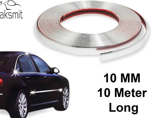aksmit 10 MM 10 Meter Chrome Diy Moulding Trim Strip For Window Bumper Car Beading Roll For Bumper, Grill and Garnish Cover, Window
