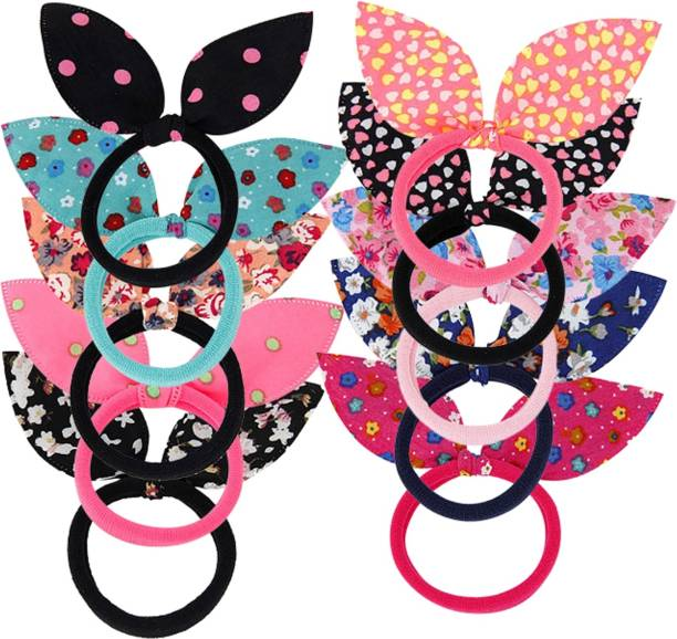 S K Bright 25pcs Women's Hair Band Elastic Ponytail Tie Bow Rubber Lovely (Multicolor) Rubber Band