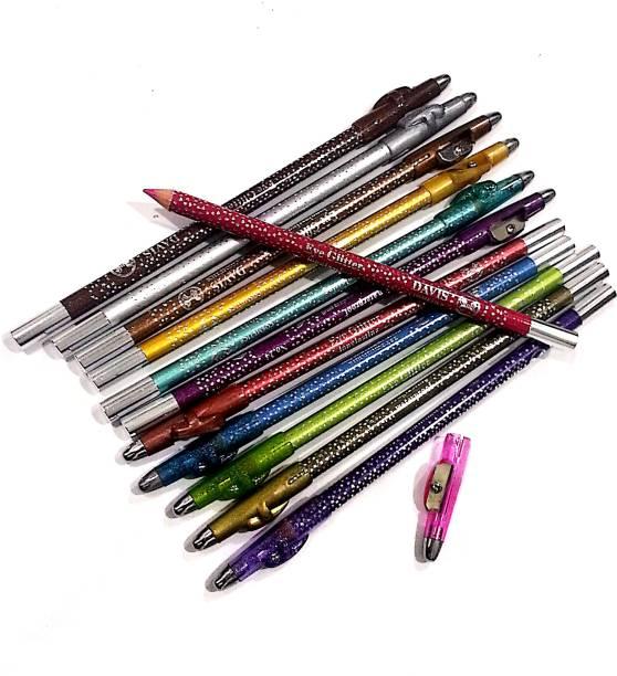 JGJ Davis Glitter Eyeliner & Eye Shadow Pencil & Lip liner & Lipstick Pencil With Sharpener Cap (Pack of 12 pcs)