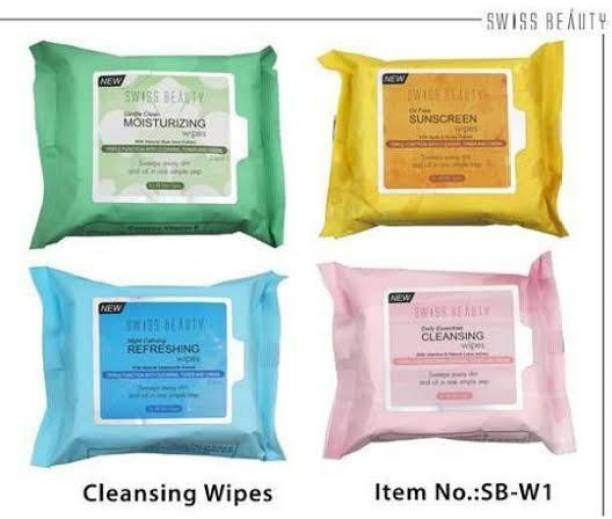 SWISS BEAUTY Makeup Remover Wet Wipes Multicolor pack of 4 Makeup Remover