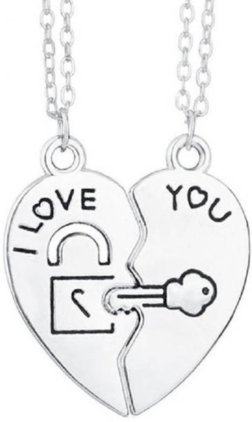 "fabula Heart Two Piece Lock & Key ""I Love You locket Silver Beads Stainless Steel Pendant"