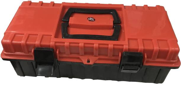 Saifpro 16inch Heavy duty Plastic Red and Black Tool Box with Tray