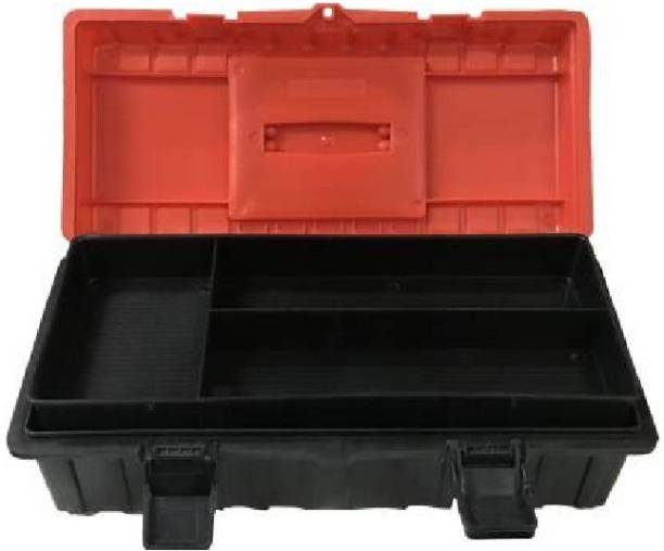 fozti Heavy duty Plastic Red and Black 16 inches Tool Box with Tray