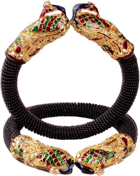 Sujwel Resin, Alloy, Mother of Pearl Cubic Zirconia, Beads, Pearl Gold-plated Bangle Set