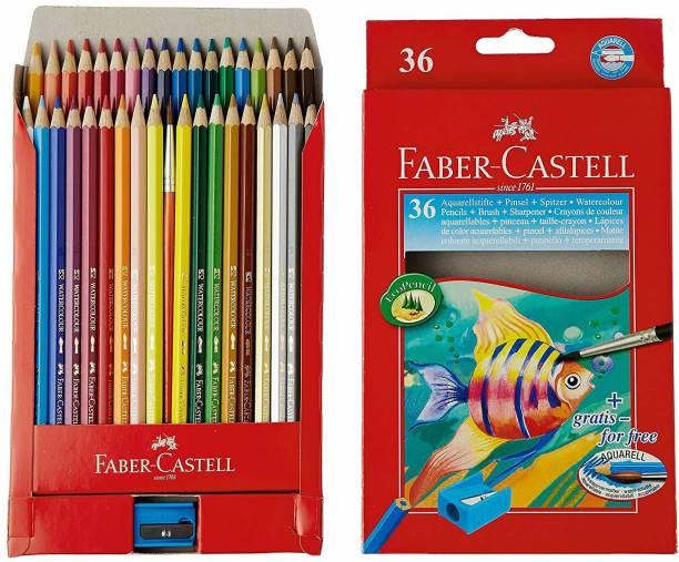 FABER-CASTELL Design Series Aquarelle Water Color Pencils - 36 Shades Triangular Shaped Color Pencils