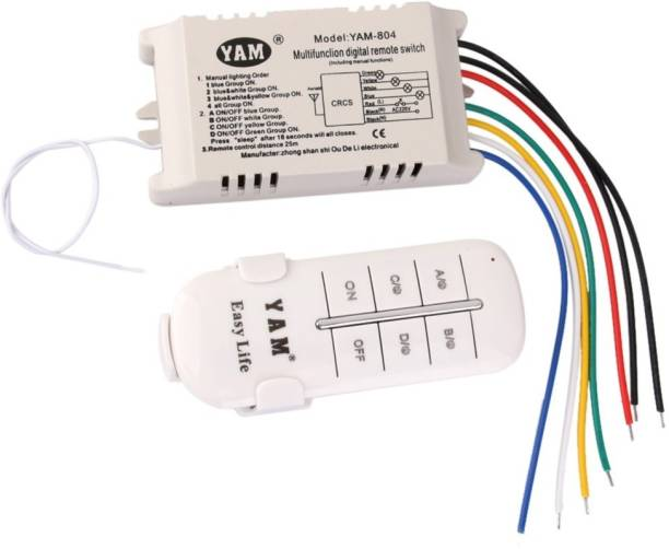 Vinayakart 4-Way ON OFF 220V-240V Light Digital Wireless Wall Switch with Remote 3 A Four Way Electrical Switch