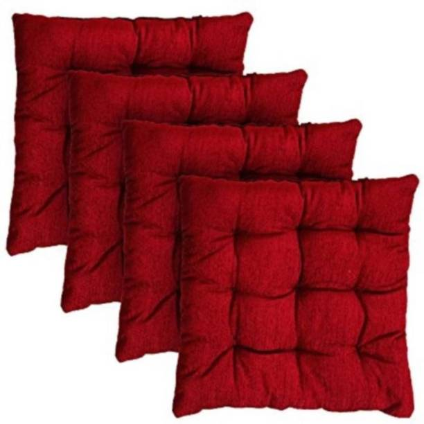 radhey kirpa furnishing Cotton Solid Chair Pad Pack of 4