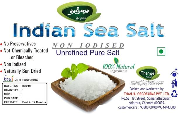 Thanjai Organic Natural Sea Salt 3 Kg Artificially No Add Iodine Salt Sea Salt