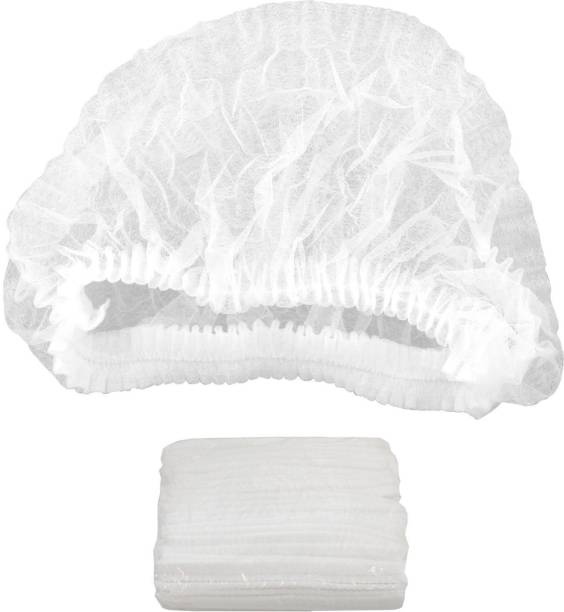 Themisto Fabric Disposable Stretchable White Caps Cover Hair for Cooking and Hygiene -100 Pieces