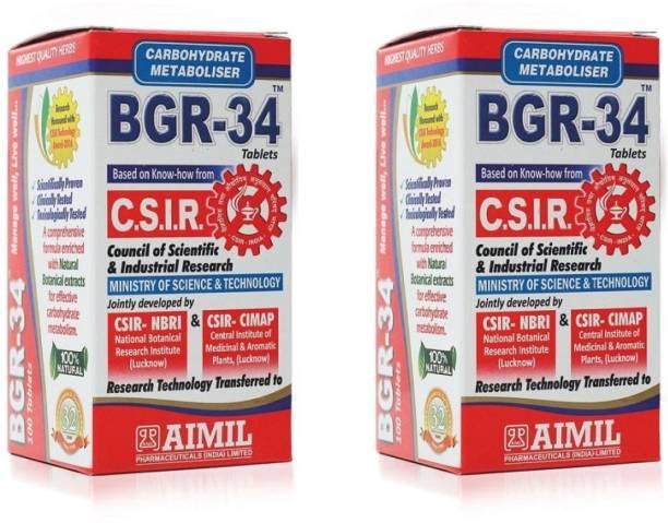 AIMIL BGR 34 Carbohydrate Metaboliser Tablet | Herbal Tablets For Endocrine Health & Diabetes Control (Pack of 2)