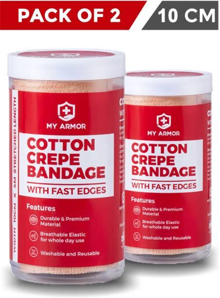 MY ARMOR Premium Cotton Crepe Bandage (4m x 10cm) (Pack of 2) Crepe Bandage