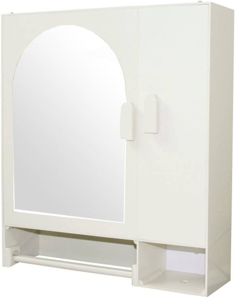 WINACO Arc Off White Bathroom Mirror Cabinet Fully Recessed Medicine Cabinet