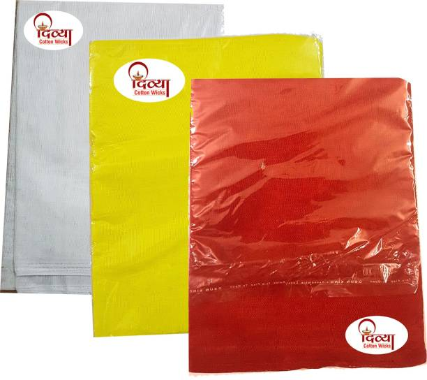 Divya Red, Yellow, White Puja Cloth And One Packet Cotton Puja Batti Free With This Altar Cloth