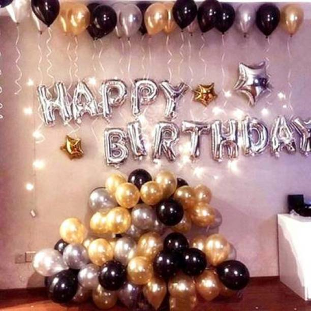 Party Hub Solid Solid Happy Birthday Letter Foil Balloon Set of 43 Balloon (Silver, Black, Silver, Gold, Pack of 43) Balloon