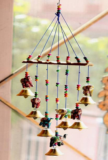 Brothers creation Handcrafted Elephant Design Wood Windchime (18 inch, Multicolor) Wood Windchime
