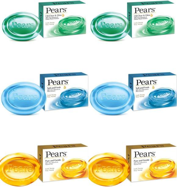 Pears Oil-Clear & Glow Soap & Soft & Fresh Soap & Pure and Gentle Soap Ambz (75G ) ( Pack of 6)