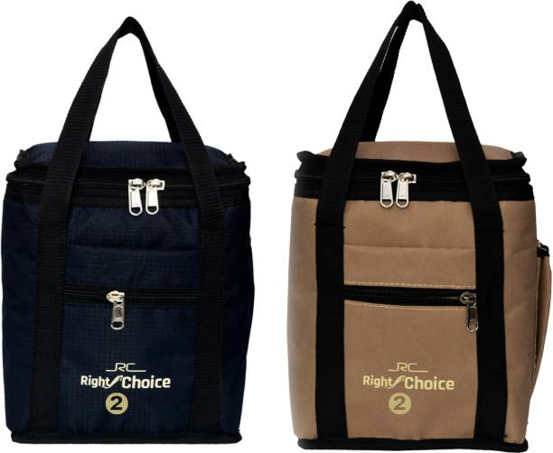 RIGHT CHOICE Combo Offer Lunch Bags (BEIGE BLACK) Branded Premium Quality Carry on Tote for School Office Picnic Travel Camping Outdoor Pouch Holder Handbag Compact Heat Preservation Waterproof Hygiene Meal Prep Box Bag for Men Women and Kids, Color (COMBO BEIGE BLACK) Small Travel Bag - midam sized (BEIGE BLACK) (Nursery/Play School) Lunch Bag