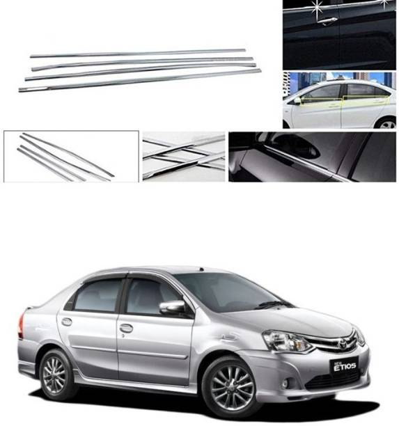 PRTEK Lower Window Garnish (Chrome) Set of 4 Compatible with 010 Chrome Toyota Etios Side Garnish
