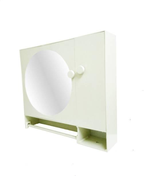 WINACO Round Off White Bathroom Mirror Cabinet Fully Recessed Medicine Cabinet
