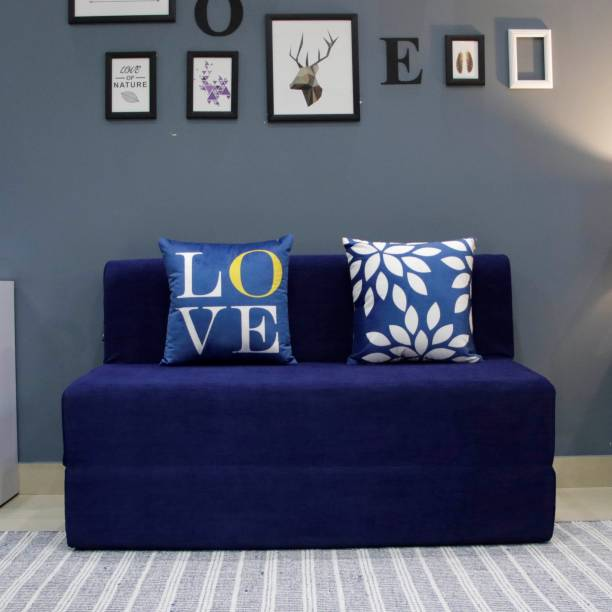 uberlyfe Two Seater Sofa Cum Bed - Perfect for Guests - Moshi Fabric Washable Cover with 2 Cushions( Leaf & Love Pattern) - Navy Blue   4' X 6' Feet. Double Sofa Bed