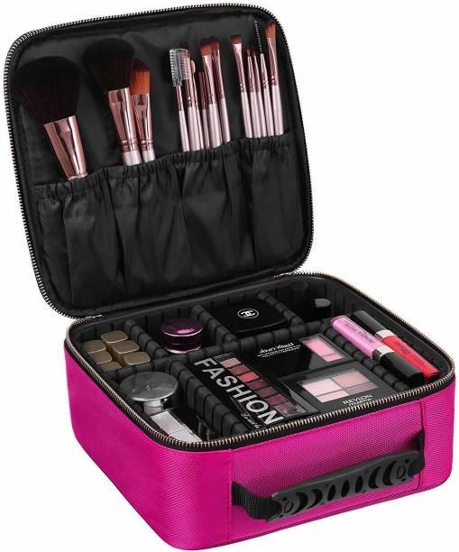 TradeVast Makeup Cosmetic Storage Case Box Makeup Vanity Box With Adjustable Compartment (Pink) Makeup Vanity Box