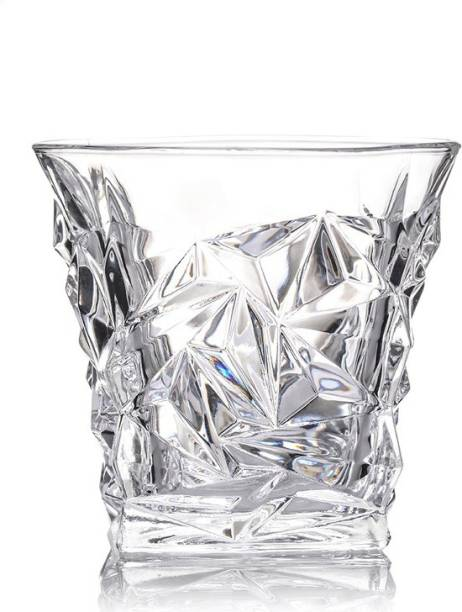 Fancy Craft (Pack of 2) Imported Diamond Cut Crystal Glass Set of 2 (300 ml) Glass Set