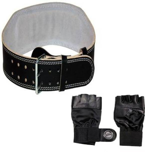 L'AVENIR Sports & Fitness combo of STRONG LEATHER GYM BELT & LEATHER GYM GLOVES Gym & Fitness Kit