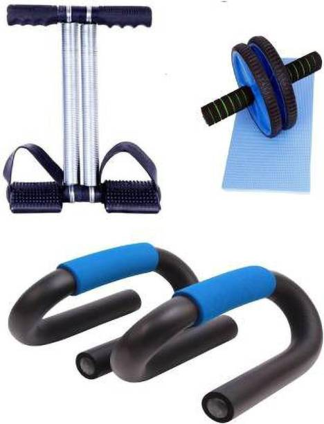 MARCRAZY Tummy trimmer ,AB WHEEL ROLLER & PUSH UP BAR ( MULTICOLOR COMBO ) Gym & Fitness Kit