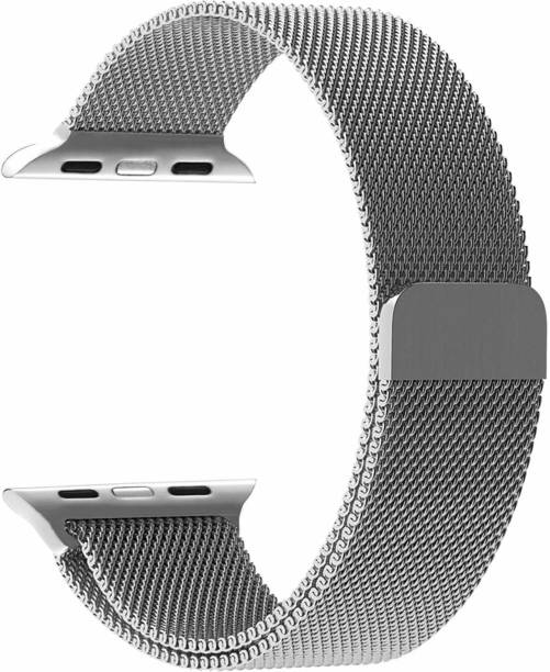 Acetrix Milanese Stainless Steel Loop Metallic Silver Strap For iWatch (42-44mm) Smart Watch Strap
