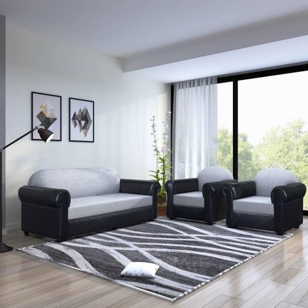 Flipkart Perfect Homes Dinant Leatherette and Fabric 3 + 1 + 1 Black & Grey Sofa Set