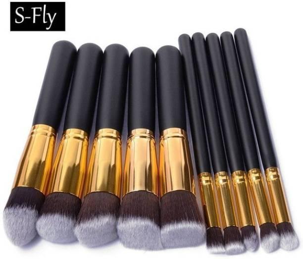 Kylie Black and Golden Wooden Handle makeup brush 10 black