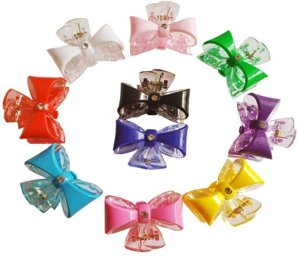 DC shiney multicolour partywear Hair Claw Clip/Clutcher in plastic For Women Daily Wear Girls Accessories And Half Pony tail Clutches To Tie Up Hairs. set of 10p Hair Claw