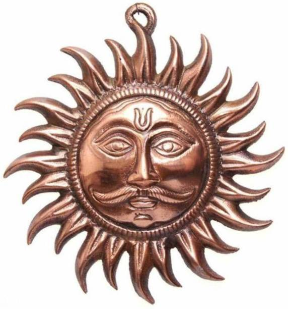 Bansiwal Rajasthani Feng Shui Divine Traditional Spiritual Handcrafted Metal Sun Wall Hanging for Home Decor, Standard, Bronze Decorative Showpiece  -  19 cm