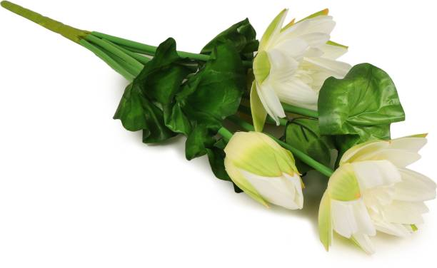 TIED RIBBONS Lotus Lily Flower Flower Bunches Artificial White Lily Artificial Flower