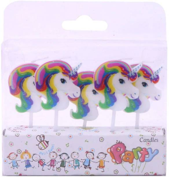 Party Propz Unicorn Theme 5Pcs Candles for Unicorn Birthday Party Supplies Or Cake Decorations Candle