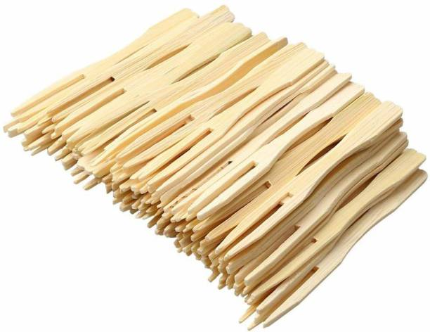 aaradhyacollection Disposable Wooden Fruit Fork Set