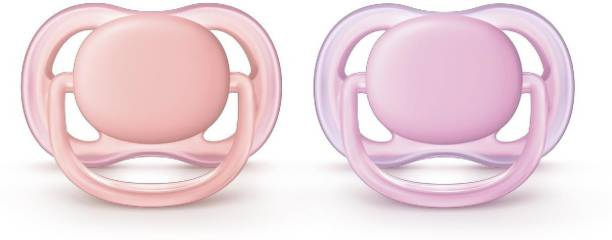 Philips Avent Ultra Air Pacifier for Girl, 6-18 Months, Pink, 2 Pack Soother
