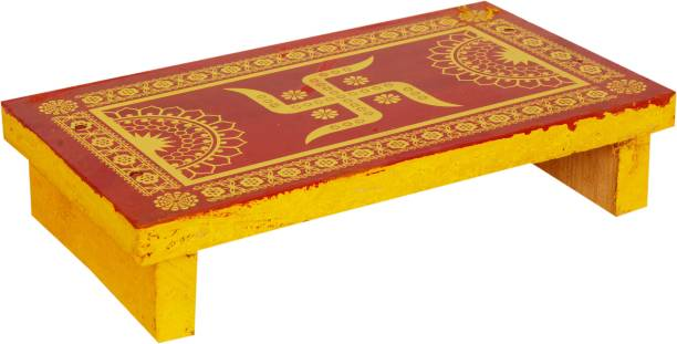 KRITI CREATION Wood Chowki (Yellow) Wooden Pooja Chowki