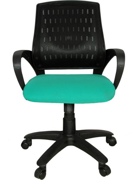 Rajpura Smart Medium Back Revolving Chair with Center Tilt mechanism in Black Fabric Office Executive Chair