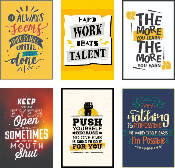 Combo Pack of 6 HD Motivational Wall Posters and Inspirational Quotes for Office and Home (300GSM Thick Paper, Gloss Laminated) Photographic Paper