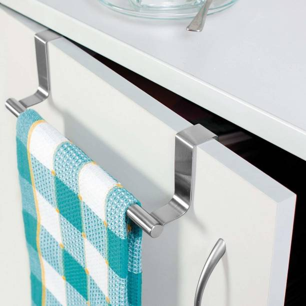 Toxham Steel Towel Bar Holder Cabinet Hanger Over Door Kitchen Hook Drawer Storage Hanger 9.2 inch 1 Bar Towel Rod