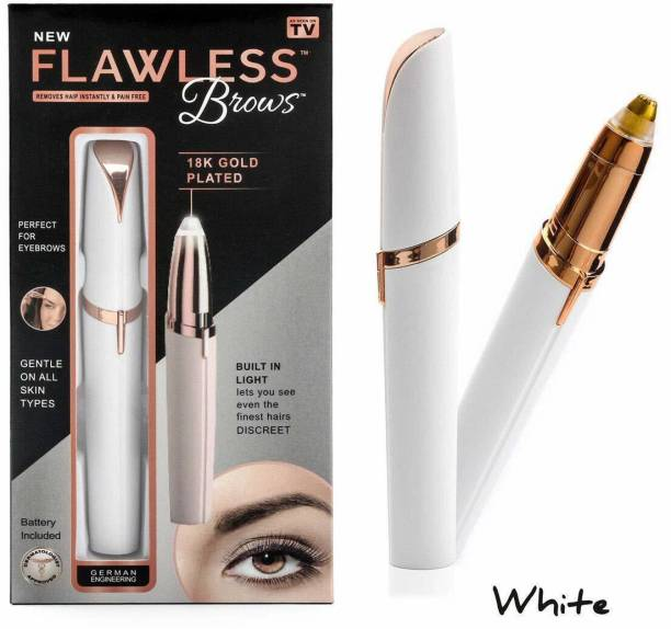 AVJ Portable Electric Eyebrow Facial Hair Remover Painless Trimmer for Smooth Finishing (White Colour) (With AAA Battery) Cordless Epilator