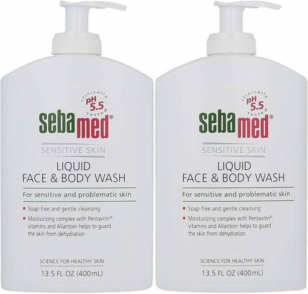 Sebamed liquid Face & Body Wash w/ Pump, 400ml (2 Pack)