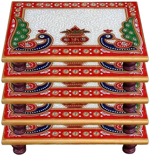 Paheli Craft Marble Chowki Set of 5 With Peacock Design Aasan For Puja (6x4 inch, Multicolor) Marble All Purpose Chowki