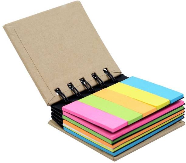 R H lifestyle Pocket Size Spiral Book With Neon Color Sticky Notes And Flags 25 Sheets Regular, 5 Colors