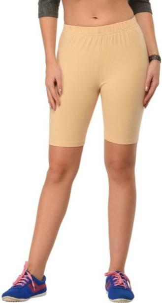 Apraa & Parma Solid Women Beige Gym Shorts, Cycling Shorts, Running Shorts, Running Shorts